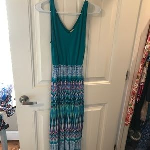 Long Turquoise and Aztec Dress
